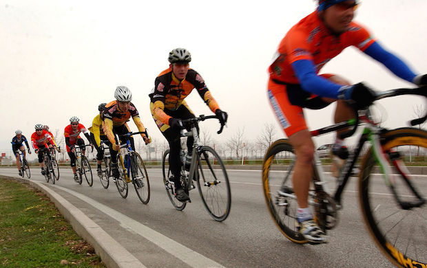Military cyclists in pace line