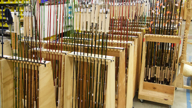 Sage Fly Rods-racks of finished product