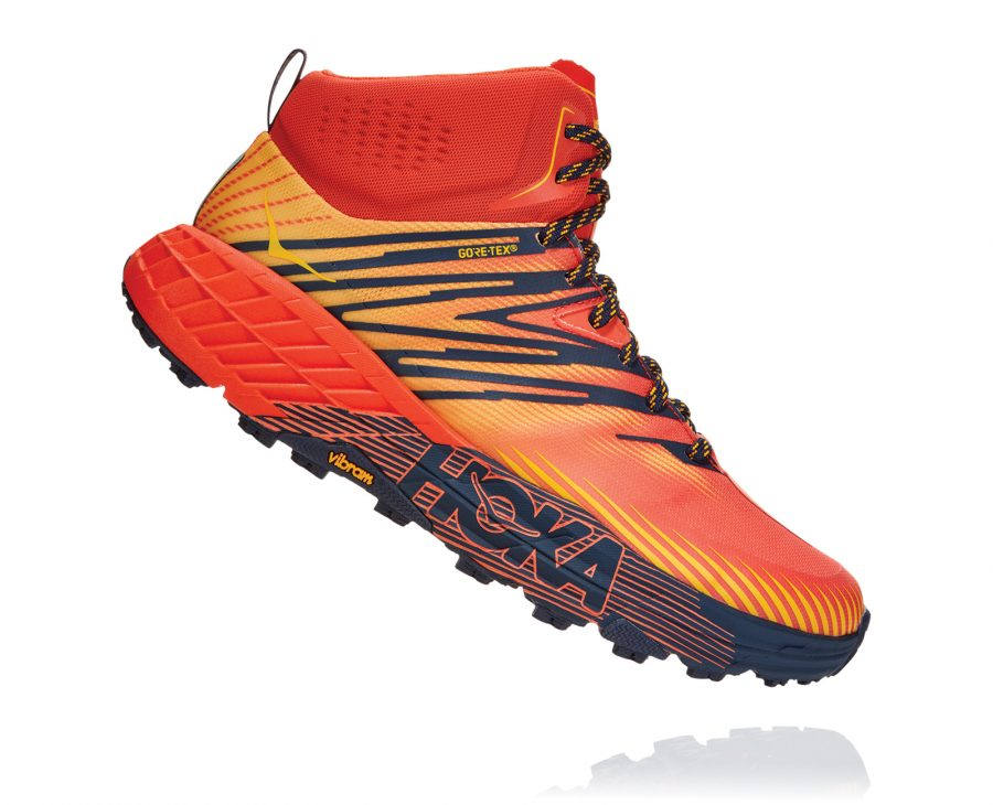 The men's Hoka Speedgoat Mid GTX 2: A trail runner meets a waterproof hiking boot.