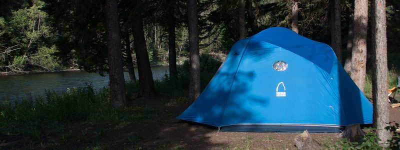 Car camp set up along Montana's Gallatin River